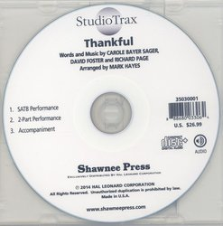 Shawnee Press, Inc. Thankful (arr. Hayes) - Studiotrax CD