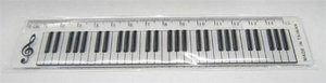 Music Sales Limited 15 cm pravítko s designem klaviatury / 15 cm keyboard design clear ruler